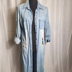 Distressed long jean jacket